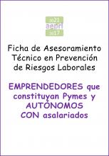 Ficha de AsesoramientoTécnico en Prevención deRiesgos Laborales paraemprendedoresque constituyan Pymes yTRABAJADORES AUTÓNOMOS CON asalariados