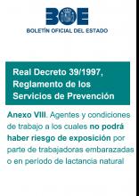 AnexoVIII del R.D.39/1997, por el que se aprueba el Reglamento de los Servicios de Prevención