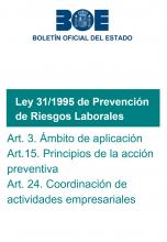 Ley 31/1995, de Prevención de Riesgos Laborales: Artículos 3, 15 y 24