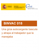 BINVAC 018-Una grúa autocargante bascula y atrapa al trabajador que la maneja