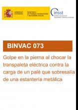BINVAC 073-Golpe en la pierna al chocar la transpaleta eléctrica contra la carga de un palé que sobresalía de una estantería metálica